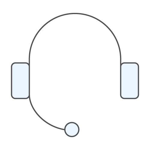 Icon of a headset with microphone